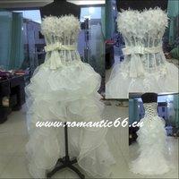 W1243 Hot Sale Strapless Sleeveless Short Front Long Back Wedding Dress