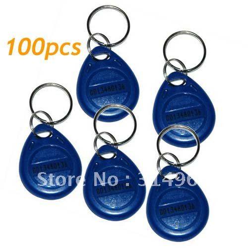 100pcs RFID Proximity ID Token Tag Key Ring 125Khz Bule Free shipping