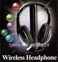 Free Shipping 1pcs/lot New Wireless Earphone Headphone 5 in 1HIFI FM for MP3 PC TV CD RETAIL SALES