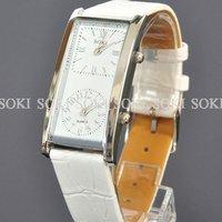 New Womens White Dual Time Analog Quartz Ladies Leather Wrist Band Watch W036
