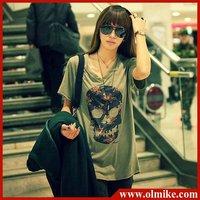 Fashion wholesale price elastic cotton women's long tall loose t-shirts round collar neck color army green XL XXL XXXL TS022