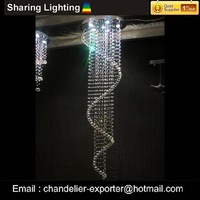 [Sharing Lighting]contemporary spiral crystal chandelier,crystal ball hanging pendant lamp