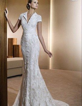 Wedding Dress, Sheath Wedding Dress, Chiffon Wedding Dress, Beaded Wedding Dress, Accept   HS0209