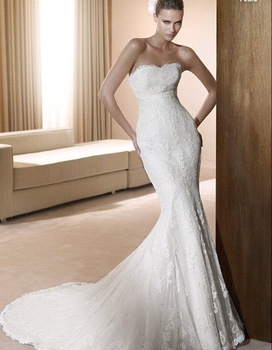 Wedding Dress, Lace Wedding Dress, Chiffon Wedding Dress, Strapless Wedding Dress, Accept   HS0212