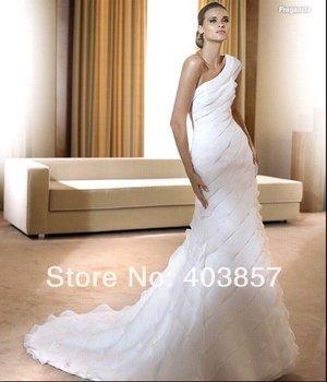 Wedding Dress White Wedding Dress Chiffon Wedding Dress One-shoulder Wedding Dress HS0239