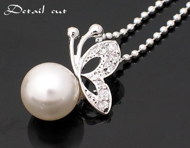 Wholesale Lowest Price! Wholesale Cute butterfly pearl pendant, sweater lady necklace, Free Shipping 30pc/ ...