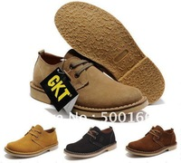 Top quality original men&#39;s genuine cow leather casual shoes office dress fur suede+rubber native soled wearproof size:38-44
