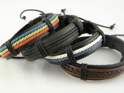 Min Order $20 Mix Order Stylish Men's Handmade Leather Wristband Hemp Bracelets New Arrival(China (Mainland))
