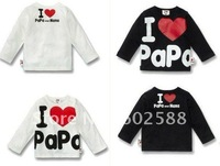 20pcs i love papa mama baby shirt/T-Shirt boy & girls Long-Sleeve Shirt,children T shirt ,100% cotton