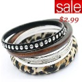 Min Order Is $15(mixed order)!Multi-storey Leapord Rivet Wood Bangles,Free Shipping Wholesale