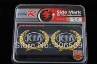 High Quality Car Badge Side Mark for Kia Car Badges Car Logo Sticker Head & Rear Emblem Retail Free Shipping