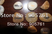 Free shipping engraved pocket stone word stone name stone lucky river stone mixed color stones with words and pictures