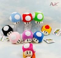 "free shipping Wholesale Setof Fun 2.5"" Super Mario Bros Mushroom Plush 10pcs with key chain"