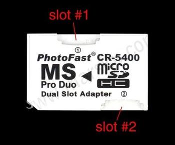 10PCS/LOT Photofast Dual MicroSD TF to MS Pro Duo Adapter  #694