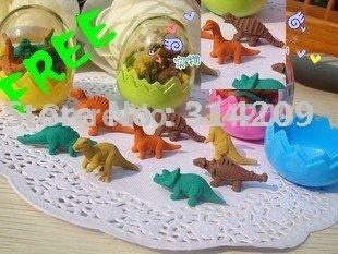 Free Shipping, Dinosaurian Egg Design-Children Cute Rubber Eraser/Wooden Pencil Earser (1 egg=8 pcs)-24 eggs/lot