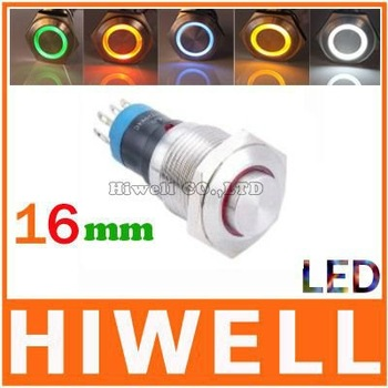 16MM momentary LED ring illuminated pushbutton switch 1NO1NC High round