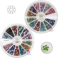 Hot Sale 55 Wheels Free shipping Mixed styes Nail Rhinestone 12color A_Grade nail art Rhinestones