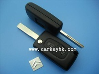 High quality  Citroen 407 2 buttons flip key case,blank car key with groove