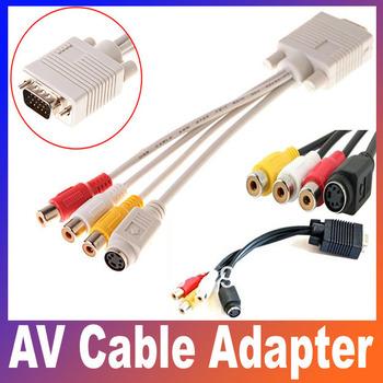 VGA TV S-Video+3 RCA Female Composite AV Cable Adapter Converter 1pcs Free shipping