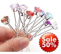 Free Shipping!! 50% OFF U Shape Crystal Hairpins Fashion Hair Accessories 100pcs/lot+Free Gift