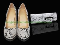 Snake Print High Heel Shoes and Bag Set
