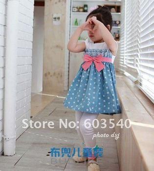 HOT Sell 5pcs/lot New Summer Polka Dot Bowknot Kids Dresses Baby Clothes fashion Girls Wear