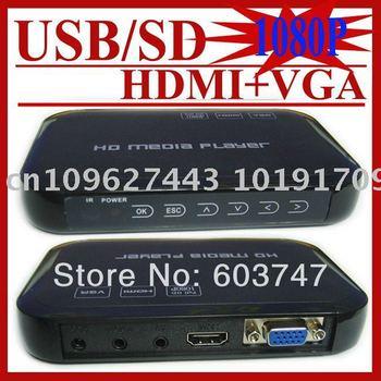 MINI Full HD 1080P USB External HDD Media player With SD MMC card reader HOST OTG support MKV H.264 RMVB DVD MPEG FREE SHIPPING