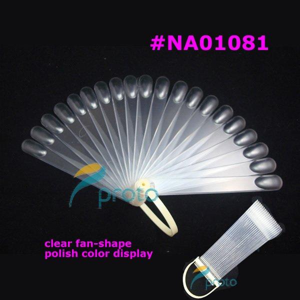 Freeshipping-20 clear Pop Sticks Fan-Shaped Nail Art Display Clear Folding Fan Chart for Polish Gel Display Wholesales F0025XX(China (Mainland))