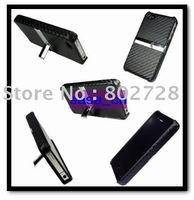 For iPhone 4 4G 4S Carbon Fiber Standing Case Cover Snap On Covers With Durable Metal Kickstand 80PCS LOT