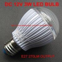 DC 12V 3W 27SMD 3528  E27 270lm white LED bulb for Solar panel nice lamp FREE SHIPPING 10pcs/lot