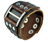 New Wholesale 3pcs/lot Man's Unisex Woman's Fashionable Cool And Leisure Genuine Leather Cuff Bracelet Metal Drops
