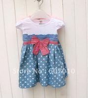 Free Shipping Korean girls' dress wholesale skirts princess dress Summer sleeveless dot dress, 5pcs/lot