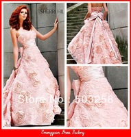 CD19 Pink Gowns Party Prom Ball Bridesmaid Wedding Flared Bottom Strapless Dress Cocktail