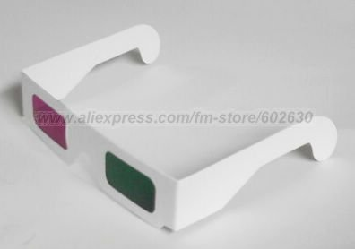 Free shipping 100pcs/lot red and blue 3D paper glasses 3D stereo glasses(China (Mainland))