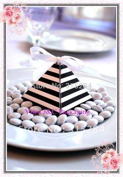 FREE SHIPPING- Popular Stripes Pyramid Wedding Favor Box (XY-392b)