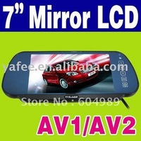 "Free Shipping Good Quality 7"" DVD VCR Camera Reversing Rearview Car Mirror Monitor O-274"