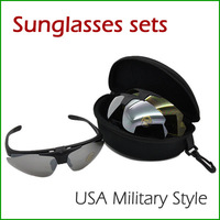 Fashion USA Military Style Sports Glasses Set with Pouch and Case Reduce Glare Drivers Goggles 2pcs/lot