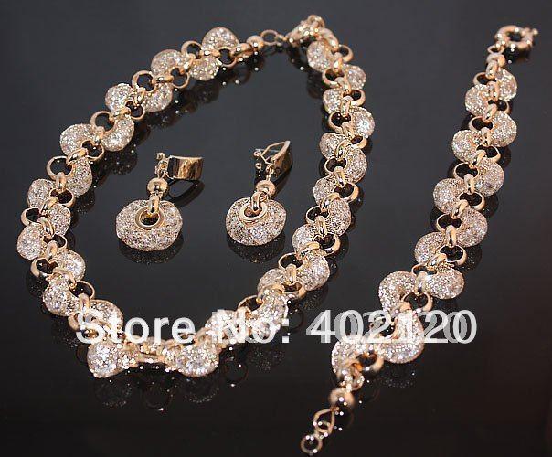 rose gold real austrian crystal bridal jewelry set wedding jewelry eternity jewelry