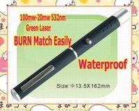 Wholesale 100mw-200mw 532nm high power green laser pointer pen BURN match lasers waterproof  free shipping