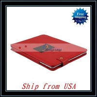 Free Shipping + Red Carrying Leather Case Bag For Apple iPad 2 Ship from USA-I00503