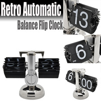 Retro Automatic Balance Flip Clock Novelty Desk  Table Clocks For Home Decor Silver wholesale