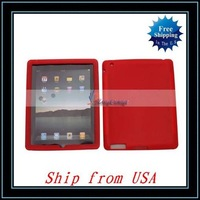 Free Shipping + Silicone Case For iPad 2 Red Ship from USA-I00359