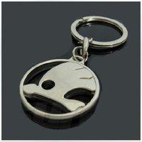 30pcs Skoda high quality fashion hollow metal key chain car keychains keyring keyrings automobile auto metal keychain gift box