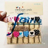 12pcs/set Love Heart Wooden Clothes Socks Memo Photo PostCard Clip, 50sets/lot,free shipping