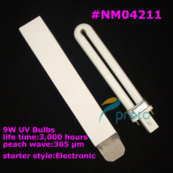 FREESHIPPING--Electronic 9W UV Lamp Tube Bulbs for UV Light Gel Lamp Nail Curing Dryer Wholesales SKU:E0197XX(China (Mainland))