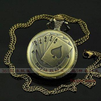 Big size round shape New Antique Cute bronze POKE Necklace Vintage Pocket Watch P093