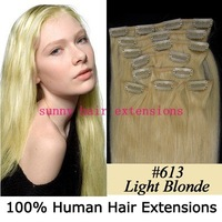 "20"" 22"" 24"" 8pcs 85g/set clip in extensions human hair extension clip in hair extensions #613 lightest blonde 5sets/color/lot"