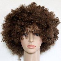 Free Shipping- Brazil soccer fan's wigs-brown afro wigs
