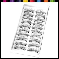 Free shipping wholesale price 10 Boxes 100 Pairs Long Black Hand made False Eyelashes, Fake Eyelash#1714