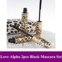 Free Shipping Hot Sale 100% Brand New Black Love Alpha Double Mascara / Panther Package Waterproof Mascara 1SET = 2PCS